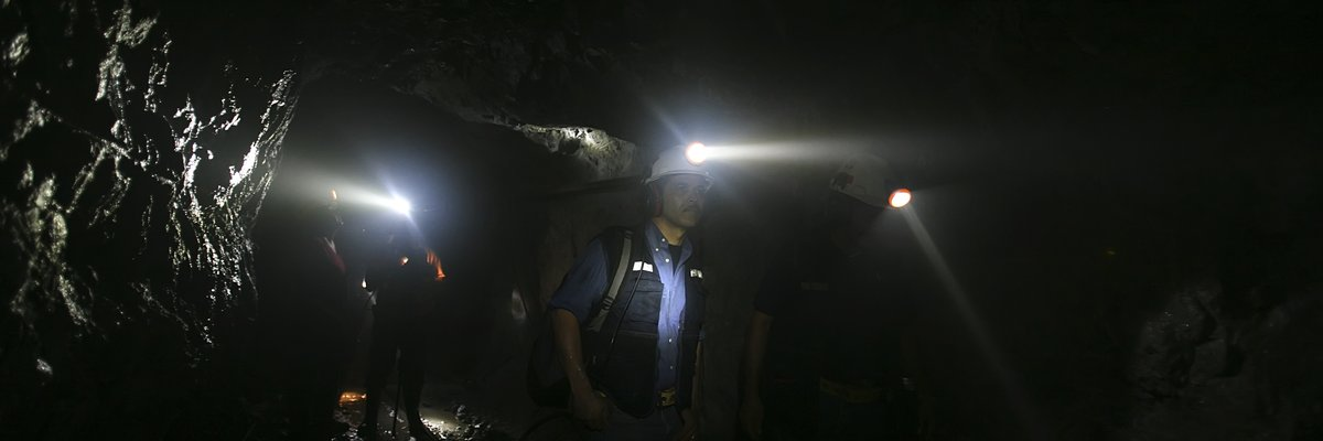 In a mine tunnel, these lamps are the miner's best friend, 